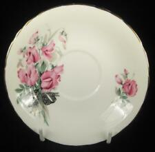 Delphine Pink Flowers & Black Ribbon Bone China Orphan Saucer