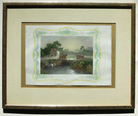 1830s TOMBLESON FRAMED PRINT OLD WINDSOR LOCKS Hand colored Engraving W Lacey