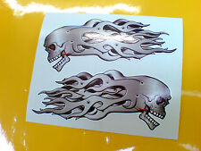 SKULL & METAL FLAMES Car Motorcycle Helmet Stickers Decals 2 off 95mm