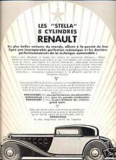 """Publicité Automobile: RENAULT """"STELLA"""" 8 cylindres;1933"""