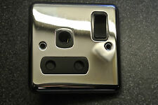 Box 5 x  Deta 1929CHB Polished Chrome Switched Plug Socket 15A Amp Black Insert