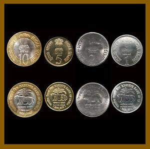 India 1 2 5 10 Rupees (4 Pcs Full Coin Set), 2010 Tiger 75 Platinum Jubilee Unc