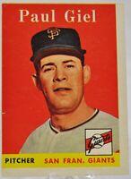 1958 Topps Baseball Card #308, Paul Giel - San Francisco Giants - VG+