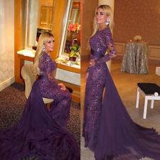 Purple Lace Mermaid Long Sleeve Party Evening Dress Bridal Wedding Gown Custom
