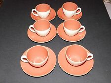 POOLE POTTERY INDIAN RED & MAGNOLIA TWINTONE COFFEE CUPS & SAUCERS x 6
