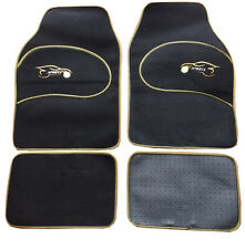 Mazda 323 323F Universal YELLOW Trim Black Carpet Cloth Car Mats Set of 4