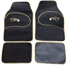 Kia Rio Optima Universal YELLOW Trim Black Carpet Cloth Car Mats Set of 4