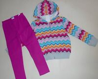 Gymboree Girls Chevron Stripe Hoodie Jacket Leggings 4 NWT