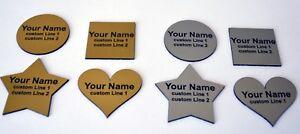 Custom Personalised Shaped Engraved Name Badge Plastic, Metal or Magnet Clip