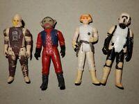 Lot Of 4 Vintage Star Wars Action Figures Dengar Nien Nunb Biker Scout Pilot