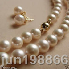 """8 mm Blanco Akoya Shell Perlas Collar + Aros AAA 18""""14K Broche"""