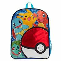 """New Pokemon Backpack 16"""" Pokeball Pikachu Squirtle Charmander Pencil Pouch"""