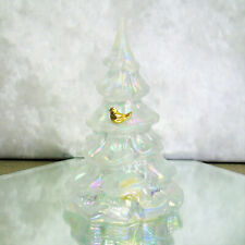 "Large 6.5"" Fenton CHRISTMAS TREE FIGURINE White Iridescent Glass Gold Bird Tags"
