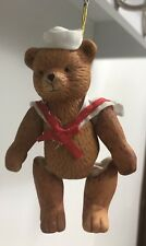 Porcelain Teddy Bear Sailor Hanging Ornament Suit Christmas Tree Pull Strings