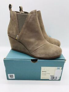 TOMS Women's Kelsey Booties Wedge Ankle Boots Taupe Grey Suede