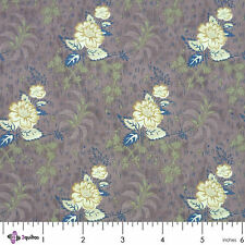 CREAM FLOWERS ON BROWN – FABRIC FQ