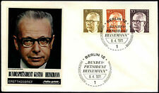 Berlin 1971, 8pf, 40pf, 70pf President Heinemann FDC First Day Cover #C35692