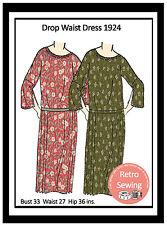 1920s Flapper Dress Sewing Pattern - Full Size Sewing Pattern - Downton Era