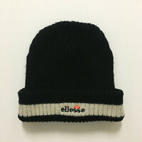 MENS ELLESSE KNIT BEANIE HAT RETRO RARE WINTER BLACK/BEIGE ONE SIZE