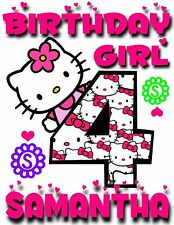 NEW CUSTOM PERSONALIZED HELLO KITTY BIRTHDAY T SHIRT PARTY FAVOR ADD NAME