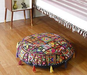 81.3cm Coton Sol Rond Coussin Housse Oreiller Indien Handmade Noir Mosaïque Taie