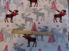 2 Yards Cream Gray/Red/White Plaid Moose/ Trees Flannel Fabric