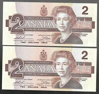 Canada Two Dollar $2 (1986) - 2 CONSECUTIVE UNC NOTES - THIESSEN / CROW - L3