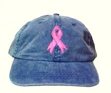 Pink Ribbon Baseball Hat Washed Blue Embroidered Breast Cancer Awareness Cap New