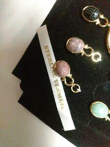 Gold On Sterling Earrings Big Hoops w/ Detachable Scarab Charms Drops Pendants !