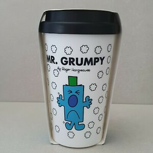 NEW Mr Men Mr Grumpy Tea Coffee Double Wall Hot Travel Mug Cup Free Post