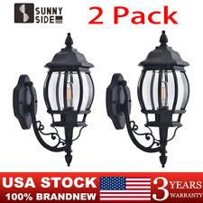 2 Pack Outdoor Wall Light Fixture Exterior Lighting Lantern Lamp Sconce Black