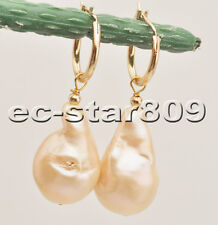 P6475 28mm Pink Teardrop Baroque Keshi Reborn Pearl Dangle Earring