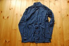Vtg Original AllSaints Blue Striped Rayon Button Down Shirt Made in England M