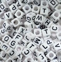 100 Alphabet Beads White Cube Jewellery Dummy Clips Mixed Letters 6mm *3 for 2*