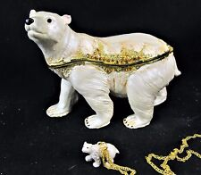 Polar Bear Jeweled Pewter Trinket Box w/ necklace Home Decor