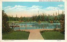 1915-1930 Postcard; Kitch-Iti-Ki-Pi Spring, Manistique MI Schoolcraft County