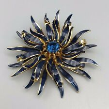 Faceted Blue Crystal Centre Large Gold Tone Enamelled Flower Brooch with