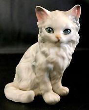 Vintage Lefton Porcelain Long Haired Blue Eyed Cat Figurine Persian, Himalayan