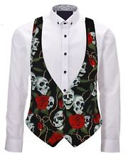 Adults Black Skull & Roses Unisex Backless Waistcoat Fancy Dress Accessory