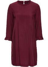 Schön fallendes Rundhals-Kleid mit Viskose-Rüschen Gr.38