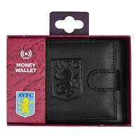 Aston Villa Black Leather Wallet RFID Safe Embossed Gift Official Licensed Boxed