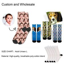 CUSTOM Pet Dog/Baby Face Socks Adult Size L Crew Socks Personalized Gift 1 Pair