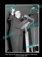 OLD LARGE HISTORICAL PHOTO OF AUSTRALIAN PRIME MINISTER ROBERT MENZIES 1963 QLD