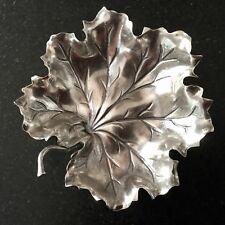"""BUCCELLATI Sterling Small GERANIUM LEAF dish bowl 3 1/2"""" x 3 1/4"""" w/felt pouch"""