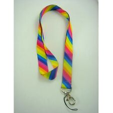 Rainbow Stripes Print Neck Lanyard Strap Cell Mobile Phone ID Card Keychain