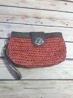 Shiraleah Orange Brown Weaved Clutch Purse Small Bag