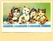 1930s Vintage Estonian Postcard Cat'S Tea Party Unused