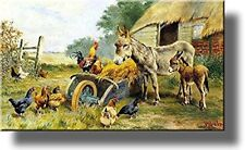 Donkey Mule Chicken Farm Kitchen Picture on Stretched Canvas, Wall Art Decor, Re