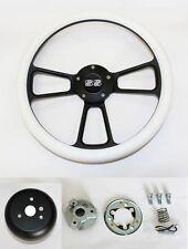 "1964-66 Chevy II 2 Nova Impala White Grip on Black Steering Wheel 14"" SS Cap"