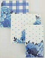 Pioneer Woman Paper Napkins Blue Floral Dots and Blue Floral Plaid Bundle of 3